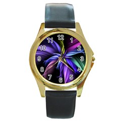 Fractal Floral Pattern Petals Round Gold Metal Watch