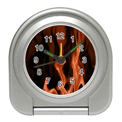Smoke Flame Abstract Orange Red Travel Alarm Clock