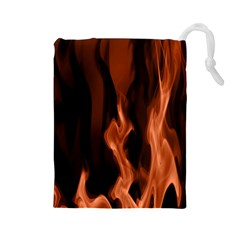 Smoke Flame Abstract Orange Red Drawstring Pouch (large)
