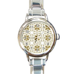 Illustrations Pattern Gold Floral Texture Design Round Italian Charm Watch