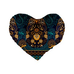 African Pattern Standard 16  Premium Heart Shape Cushions by Sobalvarro