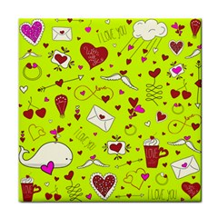 Valentin s Day Love Hearts Pattern Red Pink Green Tile Coasters by EDDArt