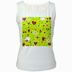 Valentin s Day Love Hearts Pattern Red Pink Green Women s White Tank Top by EDDArt