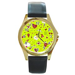 Valentin s Day Love Hearts Pattern Red Pink Green Round Gold Metal Watch by EDDArt