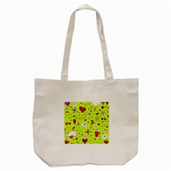 Valentin s Day Love Hearts Pattern Red Pink Green Tote Bag (cream) by EDDArt