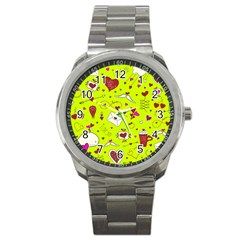 Valentin s Day Love Hearts Pattern Red Pink Green Sport Metal Watch by EDDArt