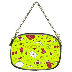 Valentin s Day Love Hearts Pattern Red Pink Green Chain Purse (one Side) by EDDArt