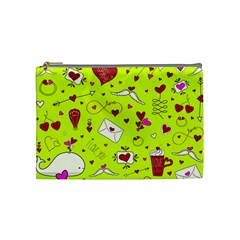 Valentin s Day Love Hearts Pattern Red Pink Green Cosmetic Bag (medium) by EDDArt