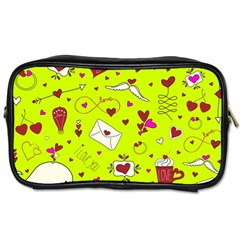 Valentin s Day Love Hearts Pattern Red Pink Green Toiletries Bag (one Side) by EDDArt