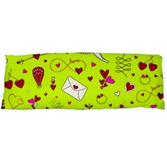 Valentin s Day Love Hearts Pattern Red Pink Green Body Pillow Case (dakimakura) by EDDArt
