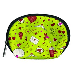 Valentin s Day Love Hearts Pattern Red Pink Green Accessory Pouch (medium) by EDDArt