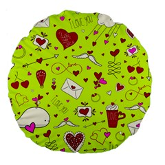 Valentin s Day Love Hearts Pattern Red Pink Green Large 18  Premium Flano Round Cushions by EDDArt