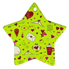 Valentin s Day Love Hearts Pattern Red Pink Green Ornament (star) by EDDArt