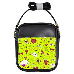 Valentin s Day Love Hearts Pattern Red Pink Green Girls Sling Bag by EDDArt