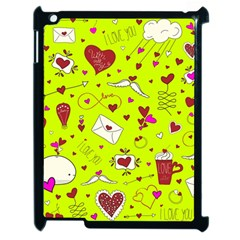 Valentin s Day Love Hearts Pattern Red Pink Green Apple Ipad 2 Case (black) by EDDArt