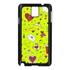 Valentin s Day Love Hearts Pattern Red Pink Green Samsung Galaxy Note 3 N9005 Case (black) by EDDArt