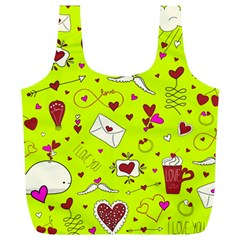 Valentin s Day Love Hearts Pattern Red Pink Green Full Print Recycle Bag (xl) by EDDArt