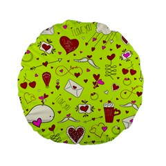 Valentin s Day Love Hearts Pattern Red Pink Green Standard 15  Premium Flano Round Cushions by EDDArt