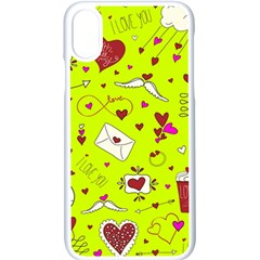 Valentin s Day Love Hearts Pattern Red Pink Green Iphone Xs Seamless Case (white) by EDDArt