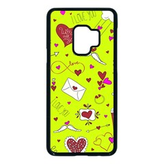 Valentin s Day Love Hearts Pattern Red Pink Green Samsung Galaxy S9 Seamless Case(black) by EDDArt