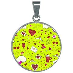 Valentin s Day Love Hearts Pattern Red Pink Green 30mm Round Necklace by EDDArt
