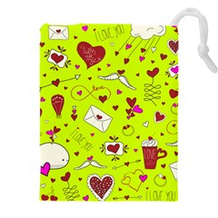 Valentin s Day Love Hearts Pattern Red Pink Green Drawstring Pouch (xxxl) by EDDArt