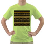 Native American Ornaments Watercolor Pattern Black Gold Green T-Shirt Front