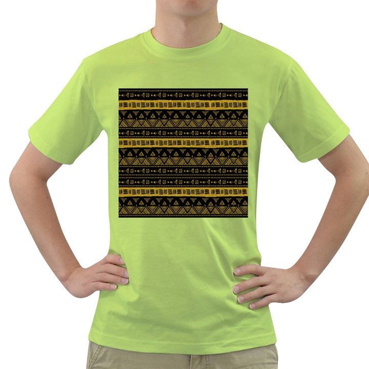 Native American Ornaments Watercolor Pattern Black Gold Green T-Shirt