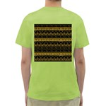 Native American Ornaments Watercolor Pattern Black Gold Green T-Shirt Back