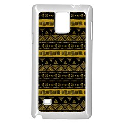 Native American Ornaments Watercolor Pattern Black Gold Samsung Galaxy Note 4 Case (white) by EDDArt