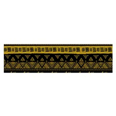 Native American Ornaments Watercolor Pattern Black Gold Satin Scarf (oblong) by EDDArt