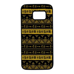 Native American Ornaments Watercolor Pattern Black Gold Samsung Galaxy S7 Black Seamless Case by EDDArt