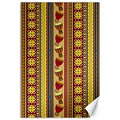 Traditional Africa Border Wallpaper Pattern Colored 4 Canvas 12  X 18  by EDDArt