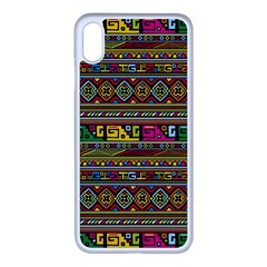 Traditional Africa Border Wallpaper Pattern Colored Iphone Xs Max Seamless Case (white)