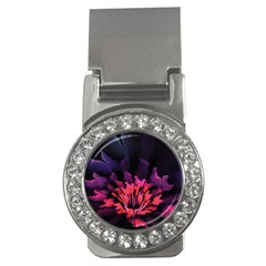 Floral Pink Fractal Painting Money Clips (cz)  by Pakrebo