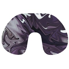 Purple Marble Digital Abstract Travel Neck Pillow