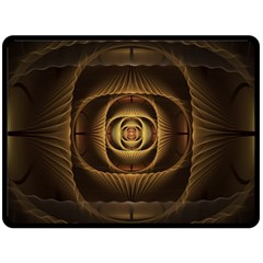 Fractal Copper Amber Abstract Double Sided Fleece Blanket (large)