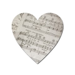 Sheet Music Paper Notes Antique Heart Magnet by Pakrebo