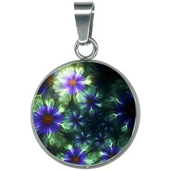 Fractal Painting Blue Floral 20mm Round Necklace by Pakrebo