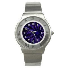 Fractal Blue Mandala Digital Stainless Steel Watch