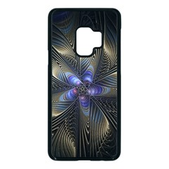 Fractal Blue Abstract Fractal Art Samsung Galaxy S9 Seamless Case(black) by Pakrebo