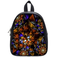 Fractal Spiral Flowers Pattern School Bag (small)