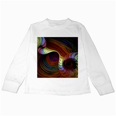 Fractal Colorful Rainbow Flowing Kids Long Sleeve T Shirts by Pakrebo