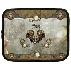 Awesome Mechanical Skull Netbook Case (xl) by FantasyWorld7