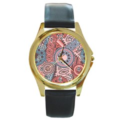 Print Round Gold Metal Watch by Sobalvarro