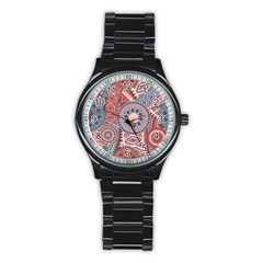 Print Stainless Steel Round Watch by Sobalvarro
