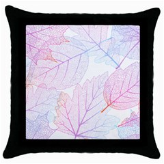 Beautiful Autumn Leaves Vector Seamless Pattern 02 Throw Pillow Case (black) by Sobalvarro