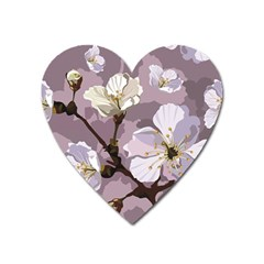 Peach Blossom Seamless Pattern Vector Heart Magnet by Sobalvarro