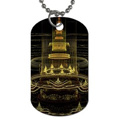 Fractal City Geometry Lights Night Dog Tag (one Side)