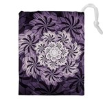 Fractal Floral Striped Lavender Drawstring Pouch (XXL) Front